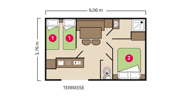 Plan Mobil home Riviera Camping Le Petit Rocher